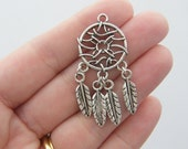 2 Dream catcher pendants antique silver tone M163