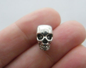 6 Skull spacer beads charms antique silver tone HC74