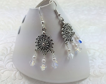 Crystal and Pearl Chandelier Earrings made with Swarovski