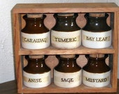 Vintage Two Shelf Spice Rack Wooden Large Letters