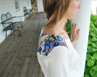 Mila Top/ Fall florals/ Floral detailing on the back and shoulders/ Off white shirt/ Russian shawl insert/ Ethnic fashion