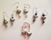 Southwest Dangle Petite Earrings Silver Puff Hearts In Turquoise Pink Czech Blue Sodalite White MOP   Free Shipping in USA