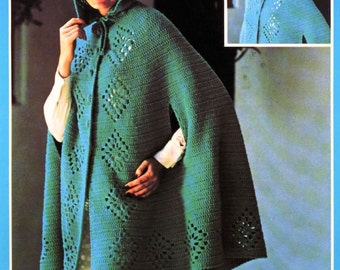 Crochet Pattern - Crochet Cape and Hood - Beginner's Level - PDF download