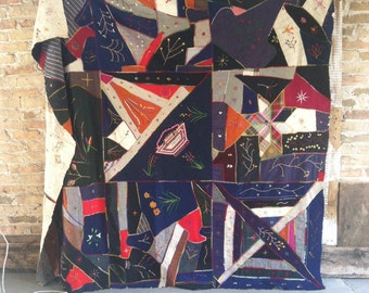 Vintage crazy quilt top unusual boho home decor feed sacks embroidered