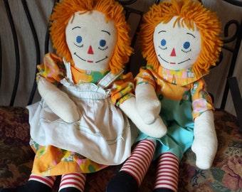 Vintage Raggedy Ann & Andy Handmade Dolls