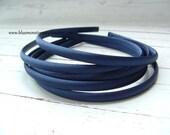 Set of 2 ~ 7mm Navy Blue Satin Headbands
