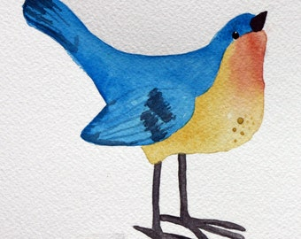 Blue and yellow bird, original watercolor painting, spring, children's art, square art, nature, nursery art, whimsical, colorful