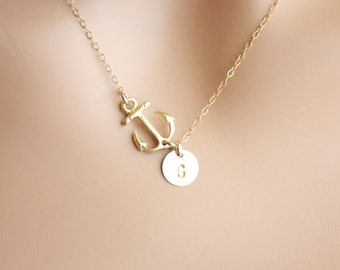 Personalized Anchor necklace , Initial Disc in GOLD , sideways Anchor, mothers necklace , mom initial ,engraved disc , perfect gift