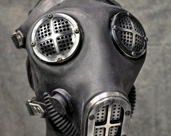 Industrial Gas Mask w Machined Hardware, Antiqued Silver - MS051AN