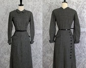 Vintage 1940s Dress 40s Dress Black White Dress Checked Dress 1940s Cocktail Dress Fitted Slim Fit Dress Mid Length Dress Womens Size Small