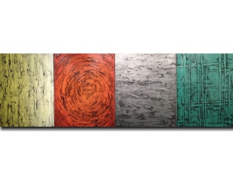 Painting home decor Large original wall art Sale oil industrial gift abstract paintings by jmjartstudio gray 24 x 72 textured artwork