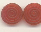 Tom's lampwork transparent satin (etched) garnet red 2 disc beads spacer/drops set, 1 pair, 97704