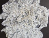 Pair of Soft White Alencon Lace Dropped Shoulder Pieces for Wedding Dress - Pearled and Sequined - Recycled