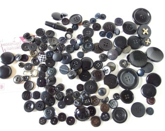 130 Assorted Black and Blue Buttons Collection