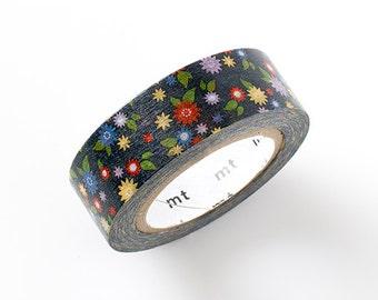 MT ex 2015 S/S NEW- Japanese Washi Masking Tape - Little Flowers on Black