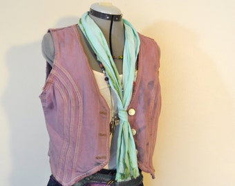 "Lilac Junior Large Denim VEST - Violet Dyed Upcycled Distressed Nori Denim Vest - Adult Womens Size Juniors Large (40"" chest)"