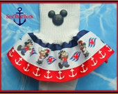 Disney Cruise inspired boutique girls ruffle sock featuring Mickey Mouse and Minnie Mouse - you pick custom ribbon colors