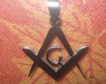 New Stainless Steel 25MM Freemason Mason Masonic Symbol Charm Pendant Necklace
