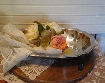 Silver French Serving Tray - Made in France - Farmhouse Chic - Home Decor - Romantic Decor - Shabby and Chic