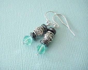 Silver Aqua Gray Dangle Earrings