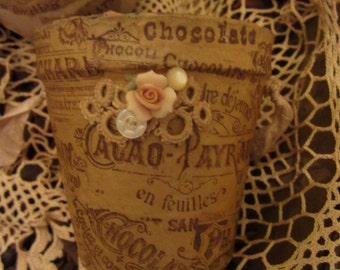 Vintage Lace Chocolat Cacao Ad Collage Embellished Peat Pot 3 Spring Decor