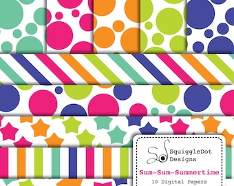 Digital Printable Paper for Cards, Crafts, Art and Scrapbooking Set of 10 - Sum-Sum-Summertime - Instant Download