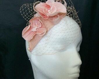 Pale Peach Veil Sinamay Loop Orchid Flower and Pearl Teardrop 'Charlotte' Wedding Fascinator Mini Hat - Custom Made to Order