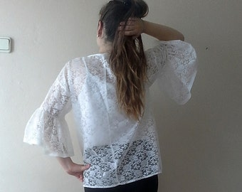White Lace top Large Size Assymetric lace blouse,Retro Floral Lace Victorian Blouse Ruffle Sleeves