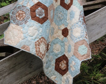 Custom Baby Quilts for Sale / Blue & Brown Quilts / Crib Bedding / Nursery / Quilts for Boys / Bunnies / Rabbits /  MADE TO ORDER