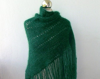 Green and silver sparkle hand knitted shawl with fringes SPRING SALE 25%OFF