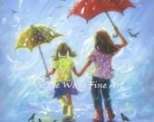 Rain Sisters art print, two sisters girls room wall art two girls, little sis blonde, childrens art, blue, two rain girls, Vickie Wade Art
