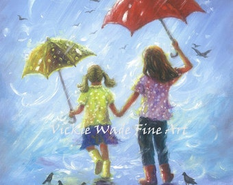 Rain Sisters art Print, two sisters girls room wall art two girls, little sis blonde, childrens art, blue, two rain girls, Vickie Wade Art