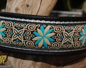 Handmade Easy Release Aluminum Buckle Leather Dog Collar PINWHEEL ZINNIA by dogs-art in black/white/zinnia turquoise