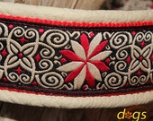 Handmade Leather Dog Collar PINWHEEL ZINNIA by dogs-art in creme/red/zinnia red, Aluminum Buckle
