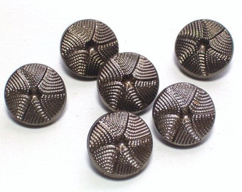 Black Glass Silver Lustre Vintage Buttons Webbed Style Set 6 Sewing Jewelry Embellishment Butons 12mm