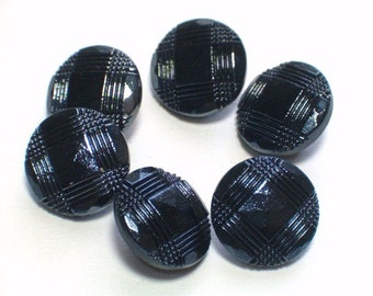 Vintage Black Glass Buttons Set 6 Sewing Jewelry Embellishment Buttons 12mm