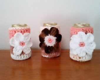 ON SALE Hand Crocheted Can Cozy Set of 3.   Peach , Brown, White