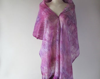 Cobweb Felted scarf, Magenta stole, Purple shawl, felt shawl , Wedding Airy scarf by Galafilc
