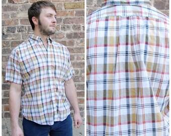 50s 60s Mens Large Plaid Cotton Shirt - mens 50s cotton Button down shirt