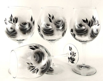 Hand Painted Personalized Bridesmaid's Wine Glasses -  Large Silver and Black Roses, Set of 8 - Winter 25th Wedding Anniversary Glasses Gift