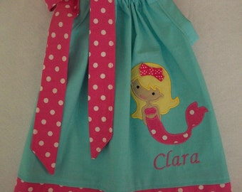 Mermaid Pillowcase dress, birthday dress, pool party dress, any occasion, Size 3 months to 6 years old girl