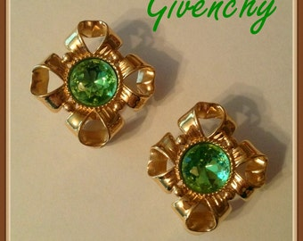 Givenchy Clip on Earrings, Gold Tone Bow, Green Stone, Vintage 1980's