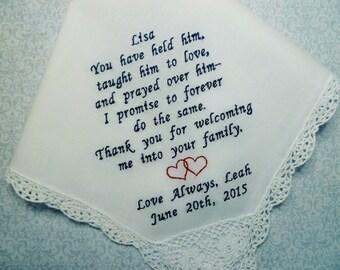 Mother In Law Wedding Hankerchief MIL Embroidered Custom Handkerchief