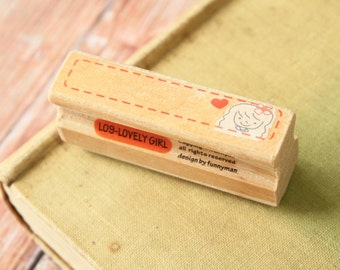 Lovely GIRL cute Funnyman Long Line cartoon rubber stamp L09