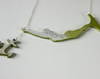 Valerie the Mermaid Necklace with Anchor