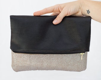 Leather and Shiny bottom foldover lined clutch