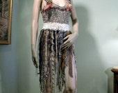 Blowout Sale - This Month Only - BURLESQUE TANKTOP DRESS - Wearable Fiber/Textile Art, Great With Leggings, Funky & Flirty