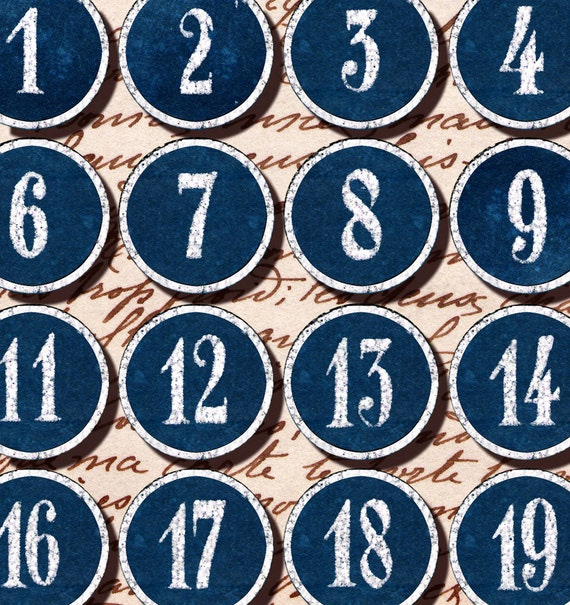 Blue and White 1-30 number labels tags 1.5 inch circles