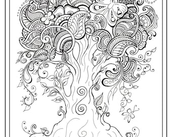 Adult Colouring In PDF Download Tree Dragonfly Henna Zen Mandalas Garden Anti Stress Mindfulness Flowers