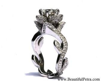BLOOMING Work Of Art - Flower Rose  Lotus Diamond Engagement Ring - Milgrain - 2.00 carat - 14K white gold - brides - fL07 - Patented design